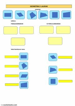 Interactive worksheet GEOMETRIA 2:  Laukiak