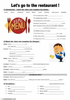 Interactive worksheet Let's go to the restaurant