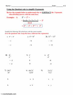 Interactive worksheet Laws of exponents