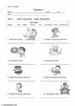 Interactive worksheet Feelings and Illness
