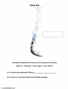 Interactive worksheet Zona sur de Chile