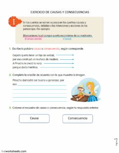 Interactive worksheet Causas y consecuencias 5 primaria