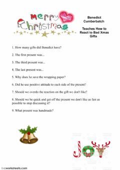 Ficha interactiva Benedict Cumberbatch Teaches How to React to Bad Xmas Gifts