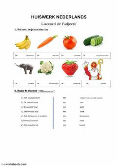 Interactive worksheet L'accord de l'adjectif