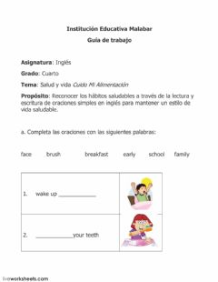 Interactive worksheet Healthy habits
