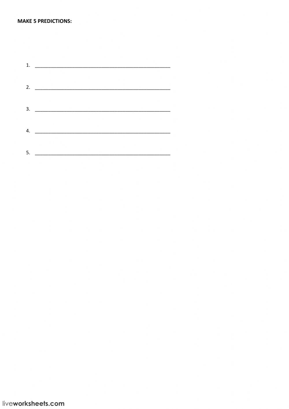 Going to predictions - Interactive worksheet