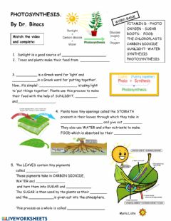 Interactive worksheet Video-worksheet PHOTOSYNTHESiS