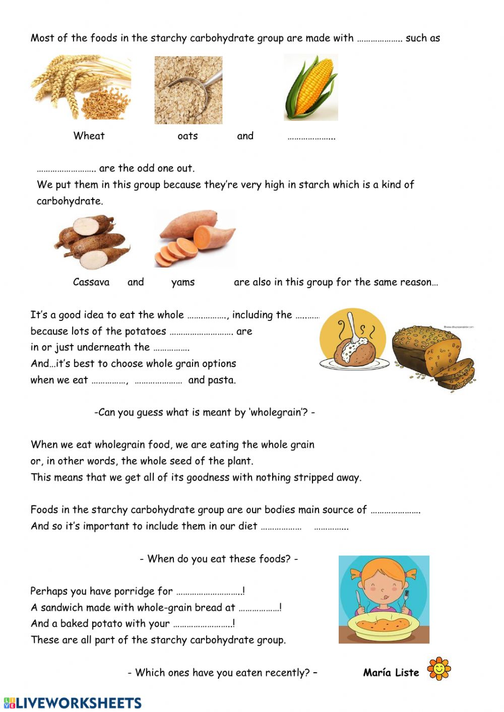 Starchy carbohydrates   Interactive worksheet