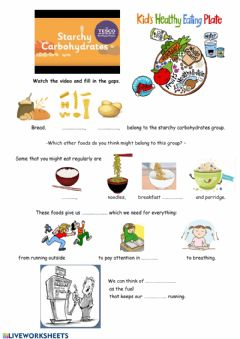 Interactive worksheet Starchy carbohydrates