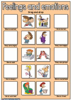 Interactive worksheet Feelings and emotions - drag and drop