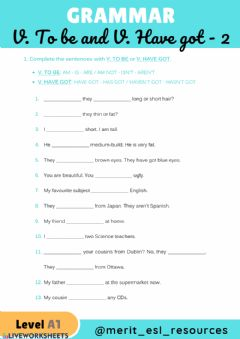 Interactive worksheet V. TO BE and V. HAVE GOT - 2 Multiple Choice