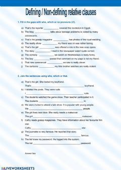 Relative Clauses worksheet preview