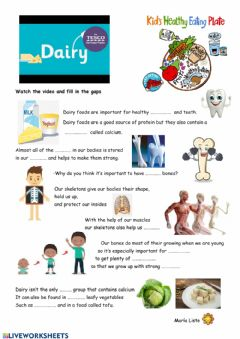 Interactive worksheet Dairy food group
