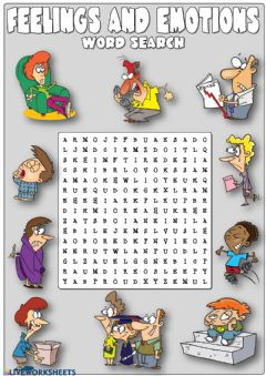 Interactive worksheet Feelings and emotions - word search