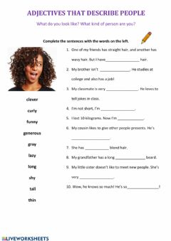 Interactive worksheet Describing appearance