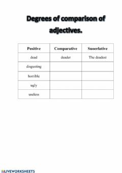 Interactive worksheet The degrees of comparison of adj.