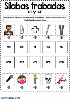 Interactive worksheet Sílabas trabadas cl- y cr-