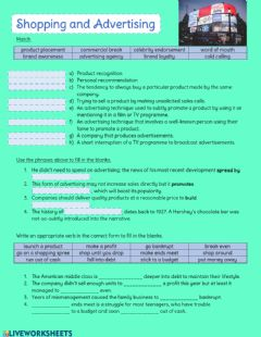 Interactive worksheet Shopping and Advertising