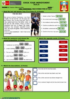 Interactive worksheet Unit test - Describing people