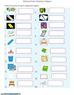 Interactive worksheet Writing Activity: Classroom Objects
