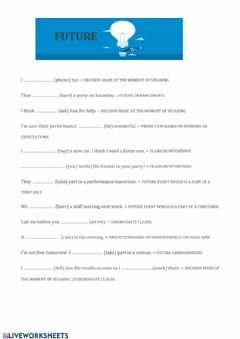 Interactive worksheet Future