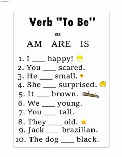 Interactive worksheet Verb to be (am, is, are)