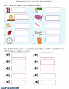 Ficha interactiva Listening & Writing Activity: Classroom Objects