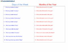 Interactive worksheet Speaking: Days and Months