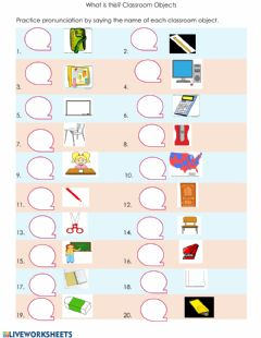Interactive worksheet Speaking: Classroom Objects