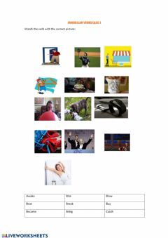Interactive worksheet Irregular Verbs Quiz