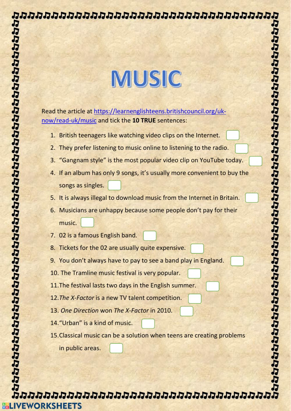 - Music (Reading Comprehension) - Interactive Worksheet
