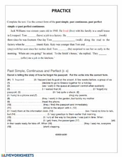 Interactive worksheet Simple past past continuous past perfect practice