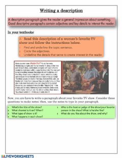 Writing a TV show description worksheet preview