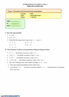Interactive worksheet Sifat komutatif