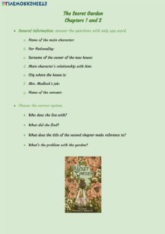 Interactive worksheet The Secret Garden: chapters 1 and 2