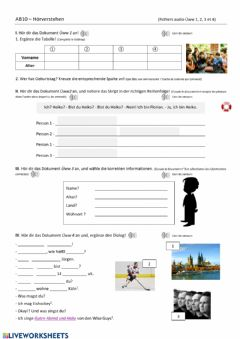 Interactive worksheet Wer bist du?