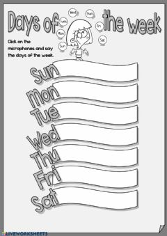 Interactive worksheet Days of the week - speaking