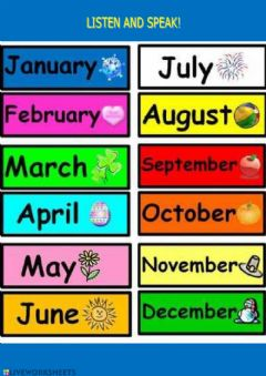 Interactive worksheet Months names