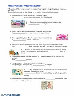 Interactive worksheet Modal verbs for present deduction