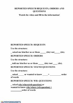 Interactive worksheet Reported Speech (orders,requests,questions)
