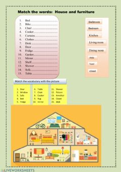 Interactive worksheet House and furniture