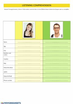 Interactive worksheet Interviewing people