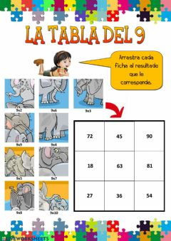 Interactive worksheet La tabla del 9