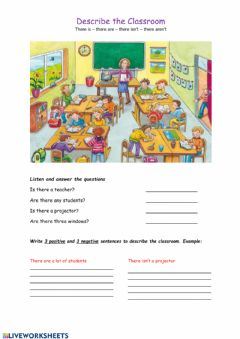 Interactive worksheet Describe a classroom with there is & there are