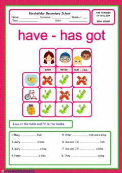 Interactive worksheet Have got has got