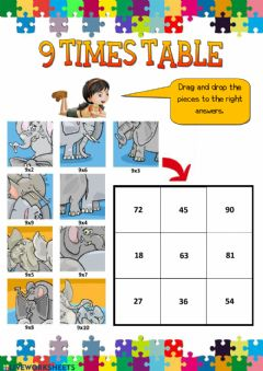 Interactive worksheet 9 times table
