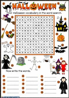 Interactive worksheet Halloween word search