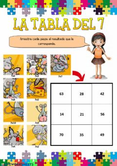 Interactive worksheet La tabla del 7