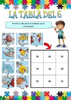 Interactive worksheet La tabla del 6