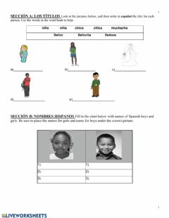 Interactive worksheet Spanish Names & Titles
